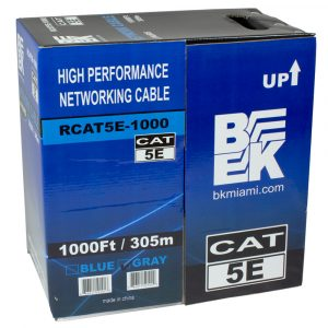 CAT5E UTP 4 Pairs Solid Ethernet/Network Cable 1000 Feet - Gray RCAT5E-1000