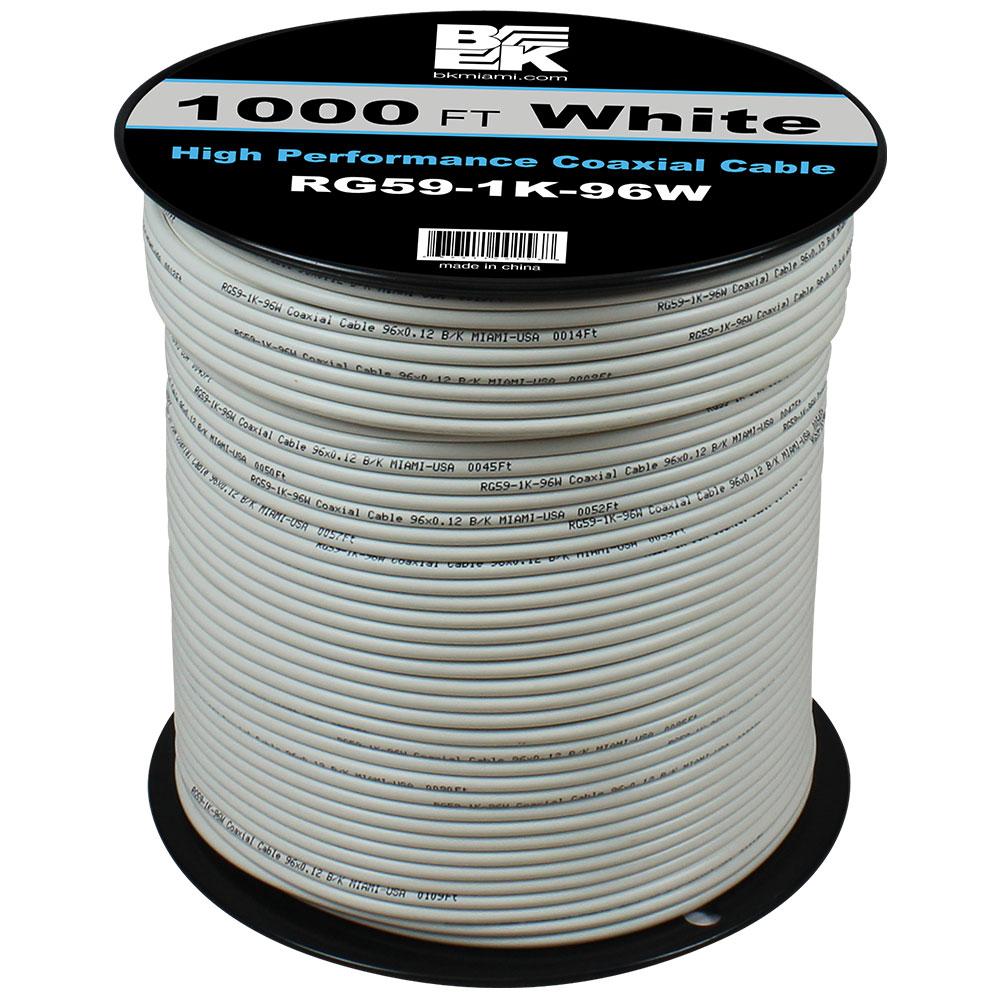 RG59 Coaxial Cable 1000 Feet – White | BK Miami