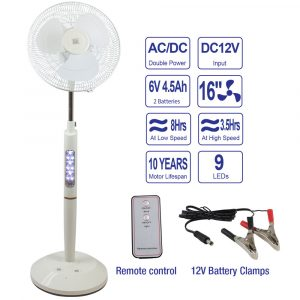 "16"" Rechargeable Pedestal Fan w/Remote - White"