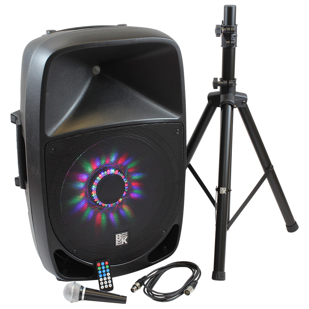 """15"""" 800 Watts 2-Way Active PA Speaker Built in LED Light - Combo"""