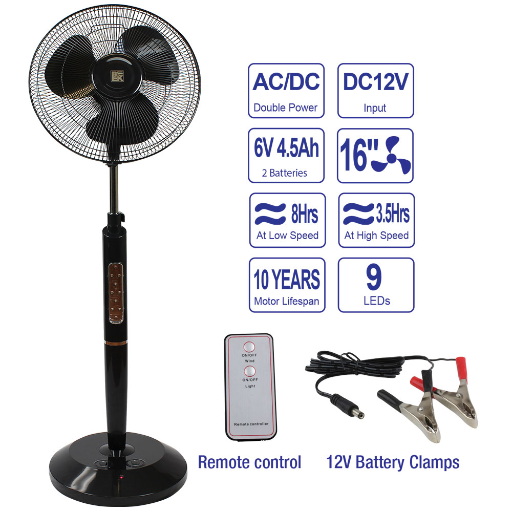 Pedestal Fan Parts : Rechargeable pedestal fan w remote black bk miami
